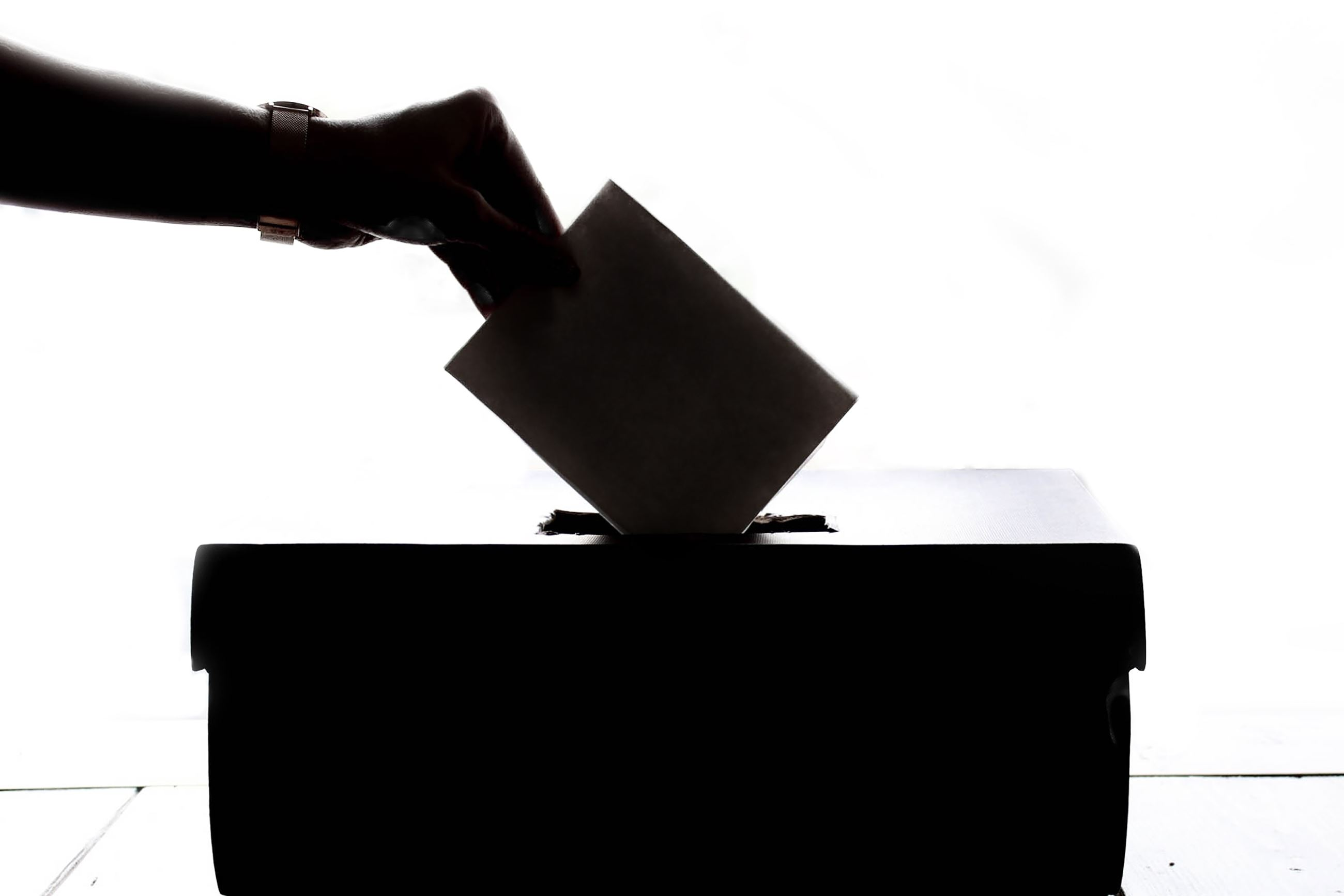Ballot box with ballot being inserted