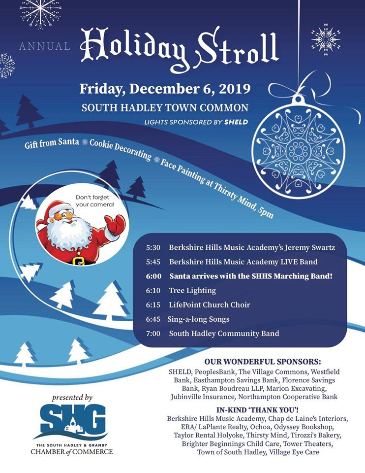 A winter flyer with Holiday Stroll information