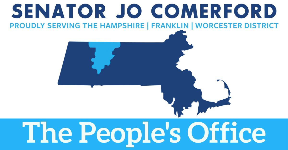 The state of Massachusetts is blue on a white background with Hampshire and Franklin Counties highli