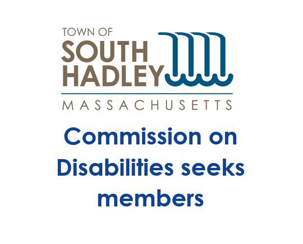 The Town of South Hadley logo which incorporates a waterfall into the town name with text that reads