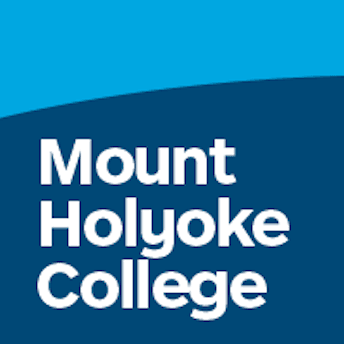 White text on a blue background reading Mount Holyoke College